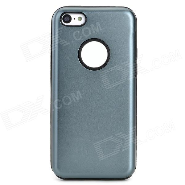 Protective Aluminum + Silicone Back Case for Iphone 5C - Grey + Black car covers abs chrome front grille around trim racing grills trim for peugeot 307 car styling