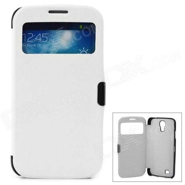 Protective Flip Open PU Leather Case w/ Display Window for Samsung S4 i9500 - White + Black protective flip open pu leather case w display window stand for samsung note 3 n7200 white