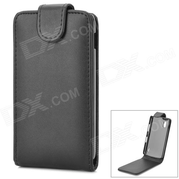Protective Top Flip Open PU Leather Case for LG Nexus 4 E960 - Black protective flip open pu leather case w card slot for lg e960 nexus 4 white