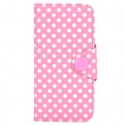 Polka Dot Pattern Protective PU Leather + PVC Case for Iphone 5 / 5s - Pink + White