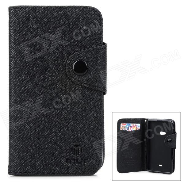 Protective Flip Open PU + TPU Case w/ Strap / Card Slots for Nokia 625 - Black stylish flip open pu tpu case w card slots for nokia 625 blue