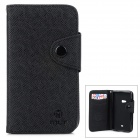 Protective Flip Open PU + TPU Case w/ Strap / Card Slots for Nokia 625 - Black