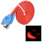 USB 3.0 Flat Data Cable w/ Smiley Face Indicator Light for Samsung Galaxy Note 3 N9000 - Red