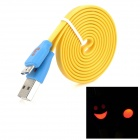 USB 3.0 Flat Data Cable w/ Smiley Face Indicator Light for Samsung Galaxy Note 3 N9000 - Yellow