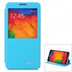 Guoer Protective Flip Open PU Leather Case w/ Stand / Display Window for Samsung Note3 N9000 - Blue