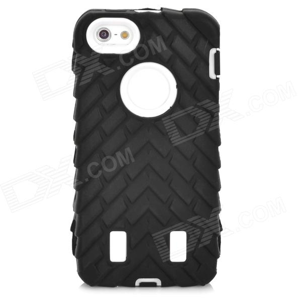 Tyre Pattern Protective Silicone + PC Back Case for Iphone 5 / 5s - Black + White protective matte silicone case for iphone 5 5s dark blue white
