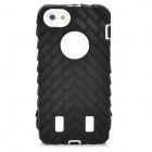 Tyre Pattern Protective Silicone + PC Back Case for Iphone 5 / 5s - Black + White