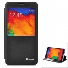 Guoer Protective Flip Open PU Leather Case w/ Stand / Display Window for Samsung Note3 N9000 - Black
