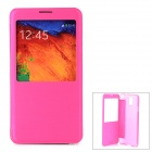 Protective Flip Open PU Leather Case w/ Display Window for Samsung Note 3 - Deep Pink