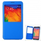 Protective Flip Open PU Leather Case w/ Display Window for Samsung Note3 - Blue + Translucent Blue