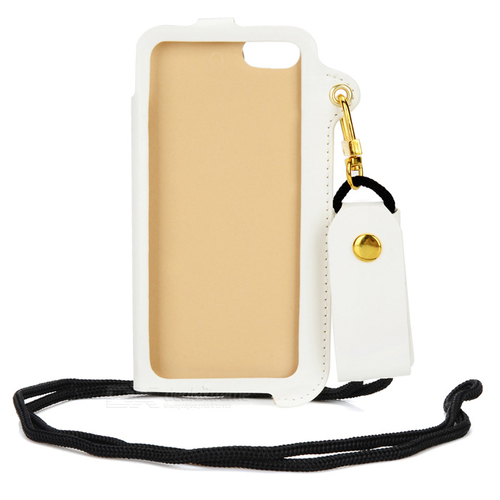 Universal PU Leather Pouch Case w/ Strap for Iphone 5S / 5c / 5 - White stylish protective pu leather case for iphone 5c white transparent black