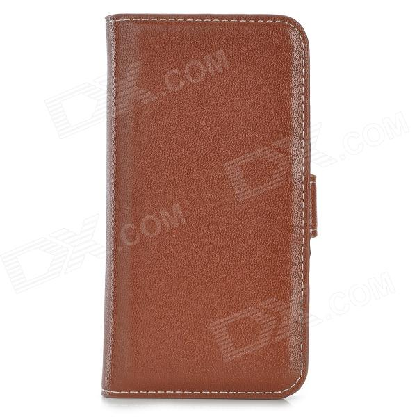 Protective PU Leather Case w/ Card Holder Slots for Iphone 5S - Brown protective pu leather case for iphone 5 5s brown
