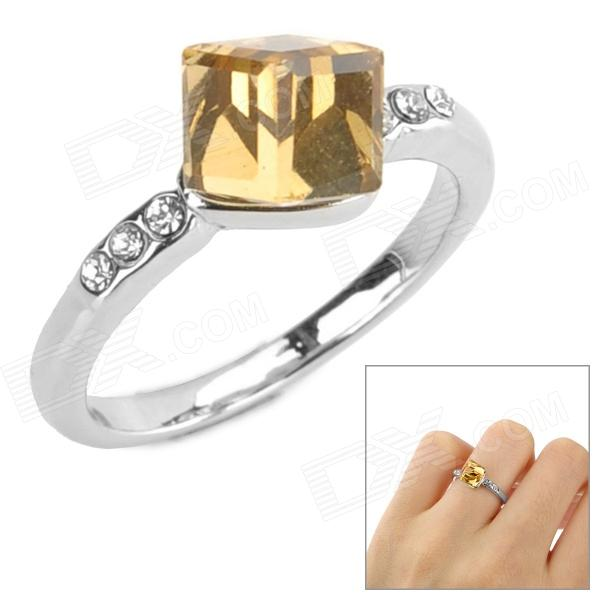 Madougongzhu S113-2 Woman's Stylish Square Crystal-inlaid Ring - Silver + Golden (Size 8)