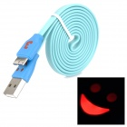 USB 3.0 Flat Data Cable w/ Smiley Face Indicator Light for Samsung Galaxy Note 3 N9000 - Sky Blue
