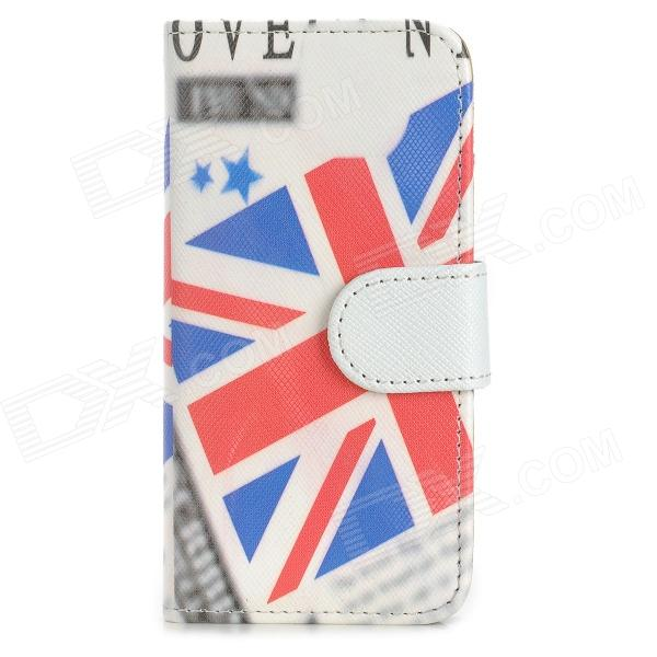 Flag of UK Pattern PU Leather + PC Case for Iphone 5 / 5s - Multicolored fashion england flag pattern wallet style pu leather case for iphone 4 4s multicolored