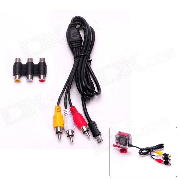 Fat Cat Mini USB Male to AV Male Composite Cable + AV Female to Female Adapter for GoPro Hero 3 / 3+