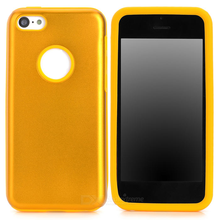 Protective Aluminum + Silicone Back Case for Iphone 5C - Golden + Yellow