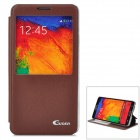 Guoer Protective Flip Open PU Leather Case w/ Stand / Display Window for Samsung Note3 N9000 - Brown