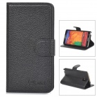 ALIS Stylish Flip-Open PU Leather Case w/ Stand / Card Slot for Samsung Galaxy Note 3 - Black