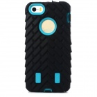 Detachable Tyre Tread Style Protective Silicone + PC Case for Iphone 5 / 5s - Black + Turquoise