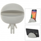 gel0302 Cute Soft Silicone Stand Holder for iPhone / Samsung + More - Light Grey