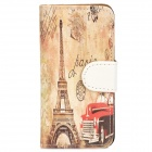 Eiffel Tower Pattern Protective PU Leather + PC Case for Iphone 5 / 5s - Multicolored