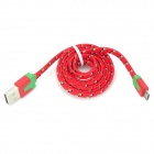 USB to Micro USB Data/Charging Flat Nylon Cable for Samsung / HTC + More - Red + Green