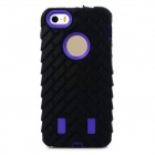 Detachable Tyre Tread Style Protective Silicone + PC Case for Iphone 5 / 5s - Black + Dark Purple