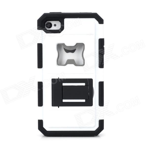 2-in-1 Cool Protective Case w/ Bottle Opener for Iphone 4 / 4S - White + Black 3 in 1 fish eye macro wide angle clip lens white black