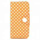 Polka Dot Style Protective PU Leather + PVC Case for Iphone 5 / 5s - Orange + White