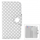 Stylish Polka Dot Pattern Flip-open PU Leather Case w/ Card Slot for Iphone 5 / 5s - Grey + White