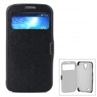 Protective Flip Open PU Leather Case w/ Display Window for Samsung S4 i9500 - Black