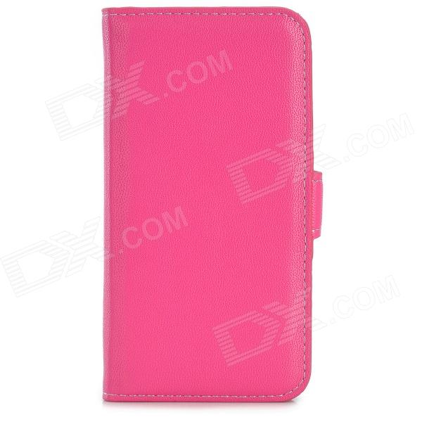 Protective Wallet Style PU Leather Case w/ Card Slot for Iphone 5S - Deep Pink stylish protective pu leather case w card holder slot for iphone 5 deep pink