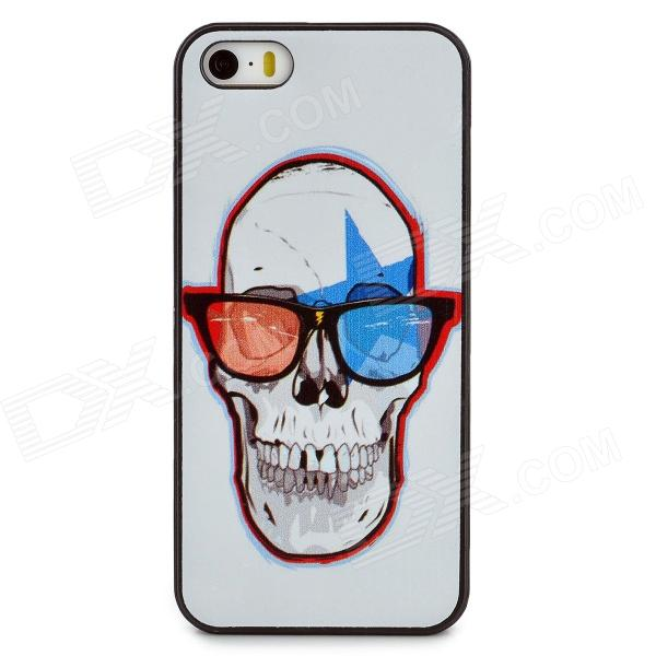 Protective Skull Pattern Plastic Back Case for Iphone 5 / 5s - White + Red + Black + Blue girl playing guitar pattern protective back case for iphone 5 white black red