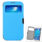 Protective Flip Open Case w/ Display Window for Samsung Galaxy S4 i9500 - Blue + Black