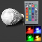 LED5.5Wb-RGB E27 E27 5.5W 300lm 1-LED RGB Light Spotlight w/ Remote Controller - Silver (85~265V)