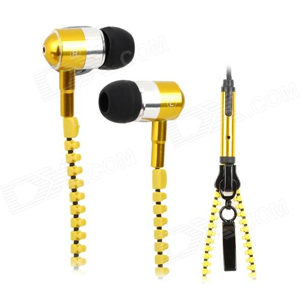 Stylish Zipper Style Universal 3.5mm Jack Wired Headset w/ Microphone for Iphone / HTC / Samsung