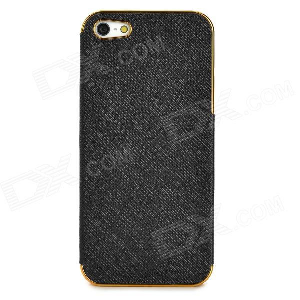 ZZ001 Protective PC + PU Leather Case for Iphone 5 - Black + Golden сотовый телефон fly fs512 nimbus 10 black