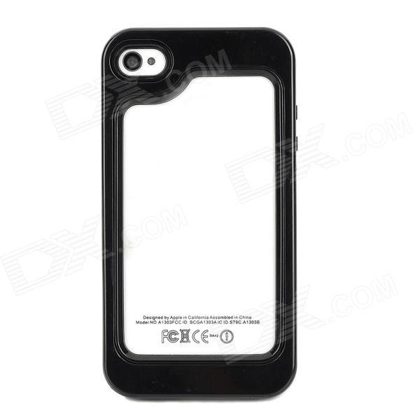 Fashionable Plastic + TPU Bumper Frame Case for Iphone 4 / 4S - Black roswheel tpu waterproof bicycle mobile phone bag w plastic case for iphone 4 4s light coffee