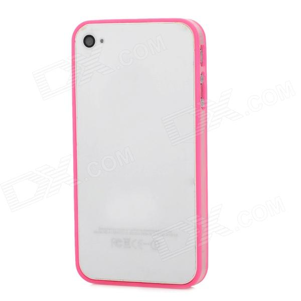 Stylish Protective ABS Bumper Frame Case for Iphone 4 / 4S - Pink + Translucent stylish aluminum alloy protective bumper frame set for iphone 4 4s black red
