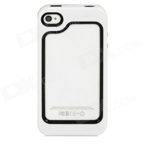 Protective Plastic + TPU Bumper Frame for Iphone 4 / 4S - White + Black protective tpu bumper frame case for iphone 6 4 7 black white