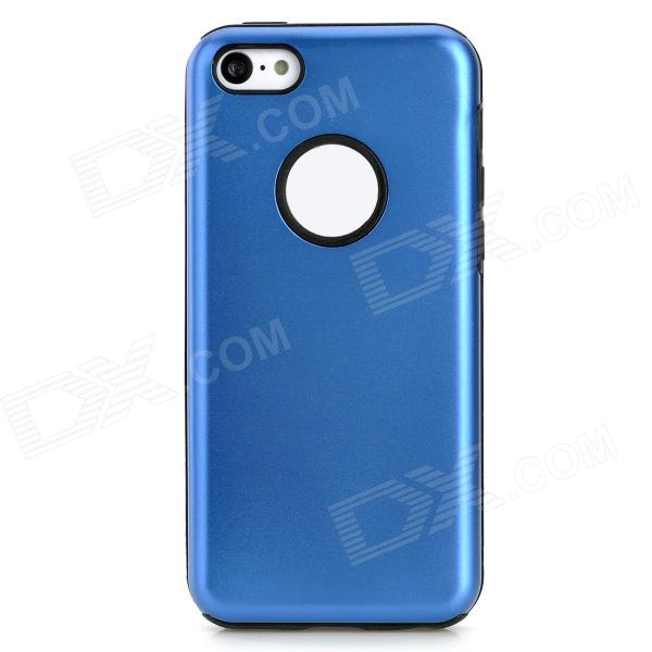 Protective Aluminum + Silicone Back Case for Iphone 5C - Dark Blue + Black stylish bubble pattern protective silicone abs back case front frame case for iphone 4 4s
