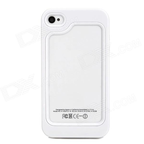 Fashionable Plastic + TPU Bumper Frame Case for Iphone 4 / 4S - White roswheel tpu waterproof bicycle mobile phone bag w plastic case for iphone 4 4s light coffee