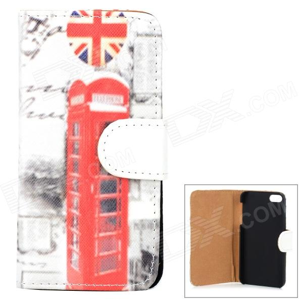 все цены на Stylish Retro Telephone Booth Pattern Flip-open PU Leather Case for Iphone 5 / 5s - Multicolored онлайн
