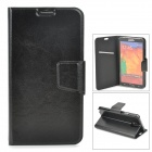 Protective PU Leather + Plastic Flip-open Case for Samsung Galaxy Note 3 N9000 - Black