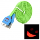 USB 3.0 Flat Data Cable w/ Smiley Face Indicator Light for Samsung Galaxy Note 3 N9000 - Green