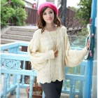 YLY-FLC3086-2166#  Fashion Bat Style Loose Rib Wool Sweater for Women - Apricot