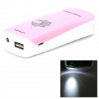 Universal Convenient 5V USB Adapter Power Bank w/ Torch Light + Indicator - Pink + White (2 x 18650)