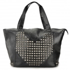 Fashionable Crocodile Grain Rivet Heart PU Leather Single Shoulder Bag - Black