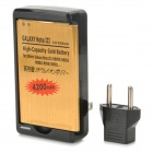 Dual-cell 4200mAh Li-ion Battery + US Plug AC Charger + EU Plug Adapter for Samsung Galaxy Note 3
